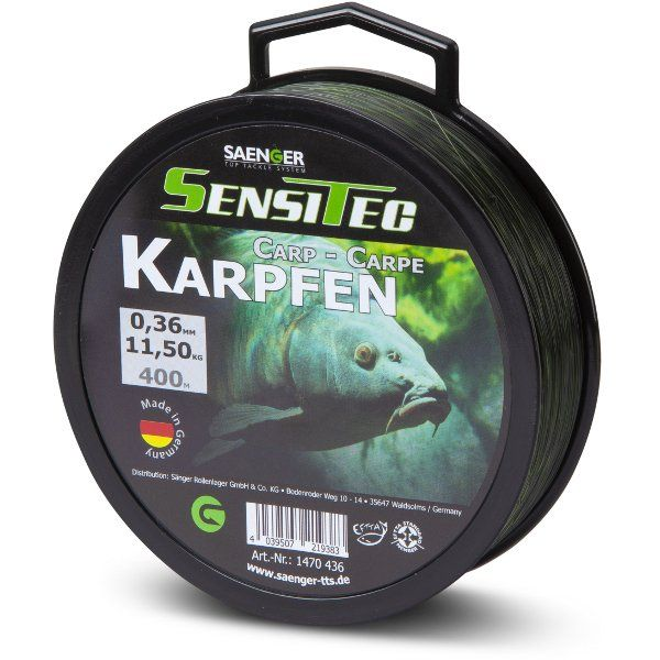 Леска карповая SAENGER Sensitec CARP 0,36mm / 11,50kg / 400m - Camou Green