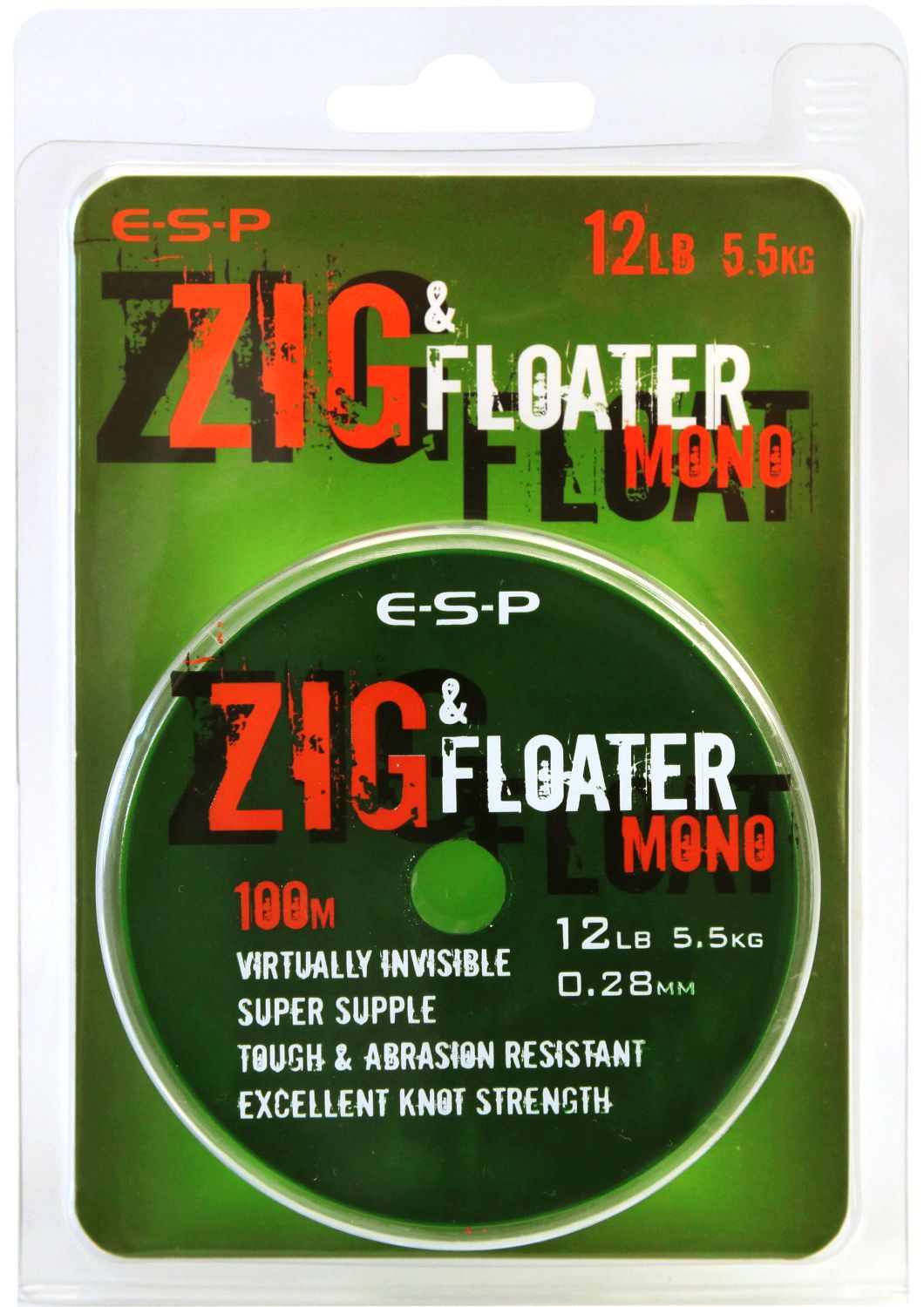 Леска нейтральной плавучести E-S-P ZIG & FLOATER Mono - 100m - Clear 0,23mm / 8lb (3,63kg)