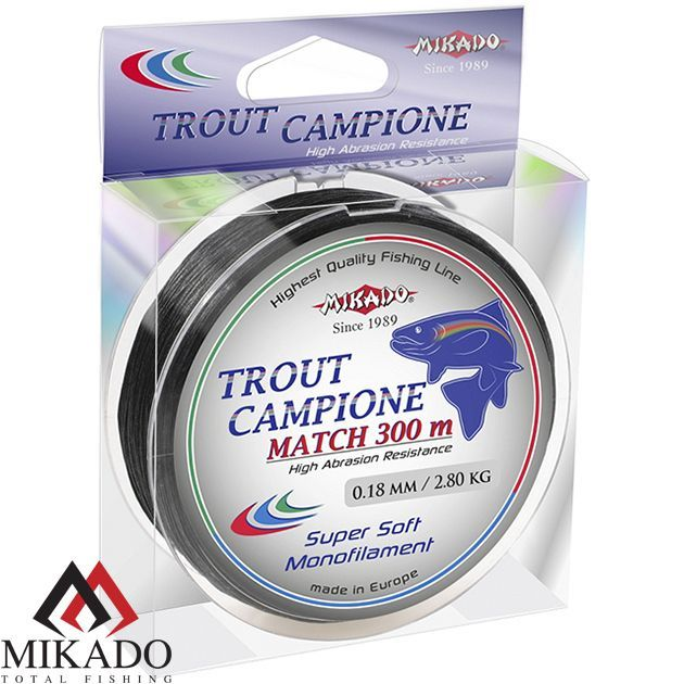 Леска мононить Mikado TROUT CAMPIONE MATCH 0,16 BLACK (300 м) - 2,70 кг.