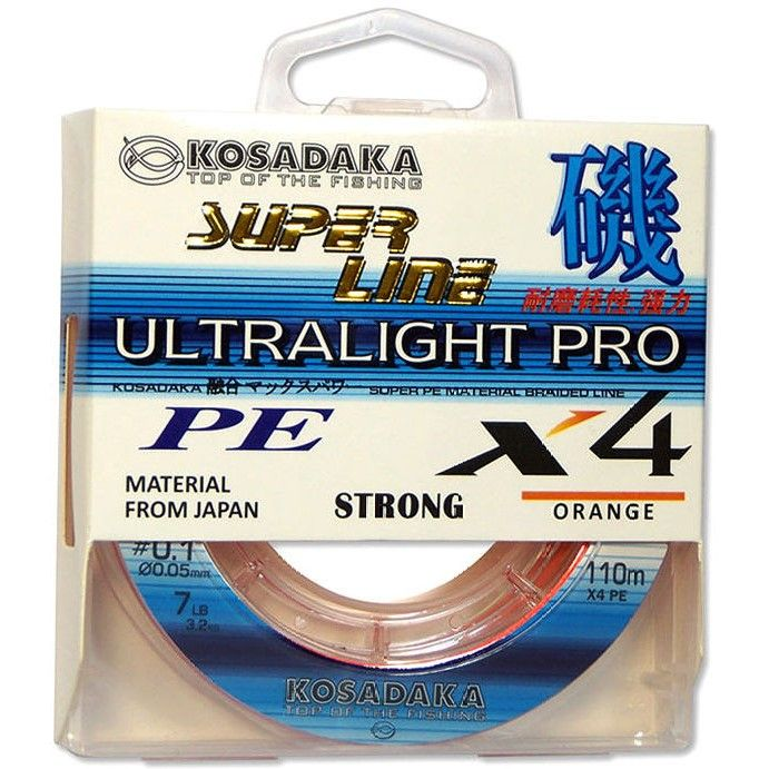 "Леска плетеная Kosadaka ""SUPER LINE PE X4 Ultralight PRO"" 110м, цв. orange, 0,08мм, 4,9кг"